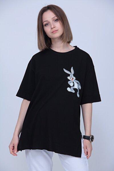Kadın Siyah Buggs Bunny Oversize Tshirt