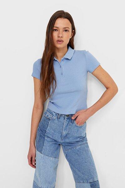 Kadın Açık Mavi Fitilli Polo T-shirt
