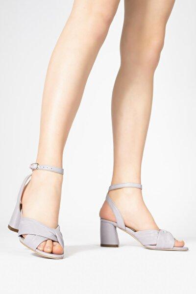 Kadın Lila HakikiDeriBilekten Bağlamalı Topuklu Sandalet