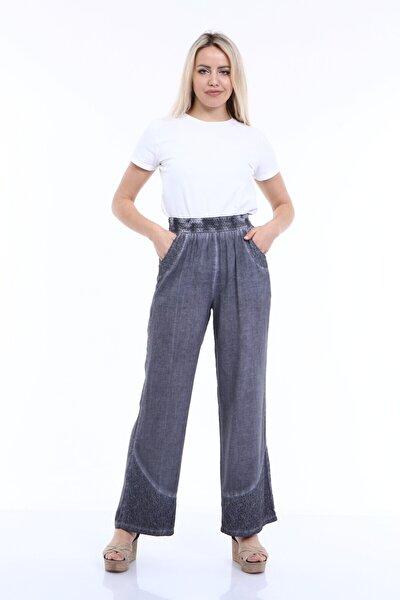 Kadın Gri Beli Lastikli Pamuklu Yazlık Pantolon