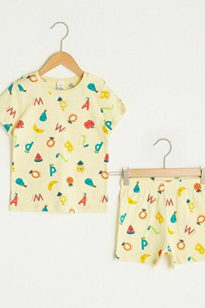 Erkek Bebek Canlı Sarı Baskı Lua Pijama Takımı