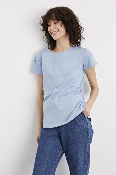 Kadın Mavi Kısa Kollu Tişört