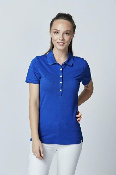 Pamuklu Polo Yaka T-shirt Saks Mavi