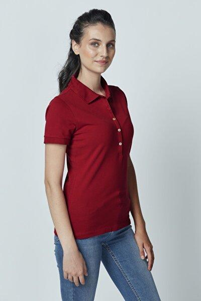 Pamuklu Polo Yaka T-shirt Bordo