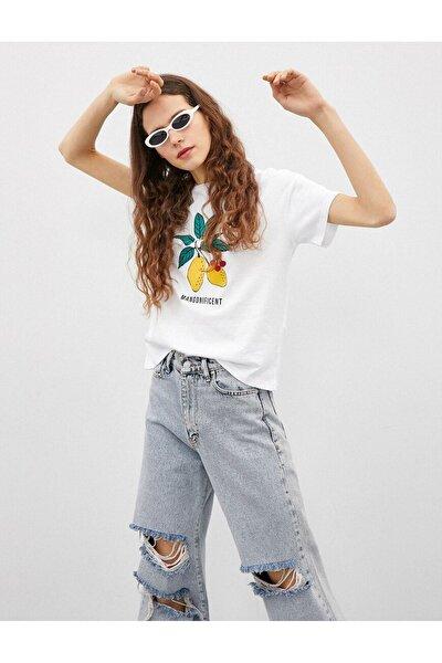 1yal18028ık Kadın T-shirt Kırık Beyaz