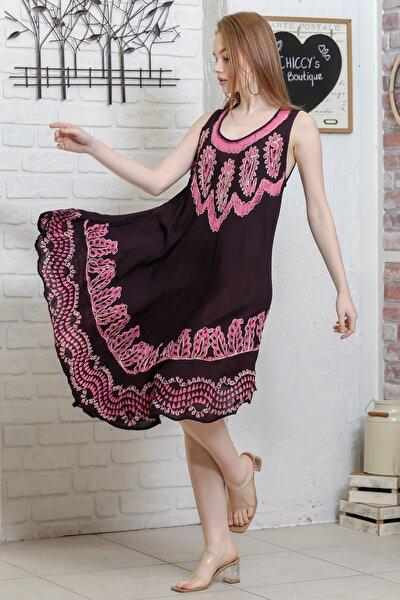 Kadın Siyah Batik Yakası Ve Etek Ucu Şal Desenli Salaş Dokuma Elbise M10160000EL95130