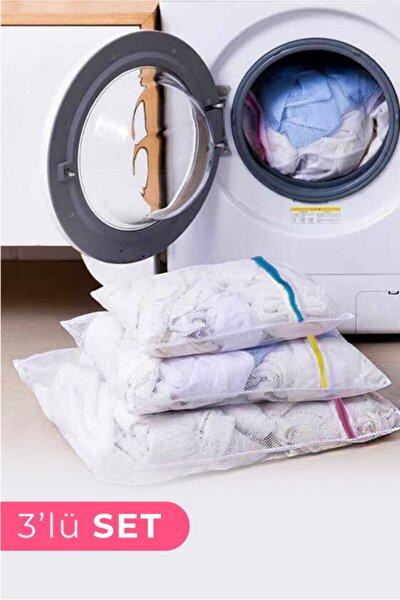 3 Adet Çamaşır Yıkama Filesi Renkli Fermuarlı