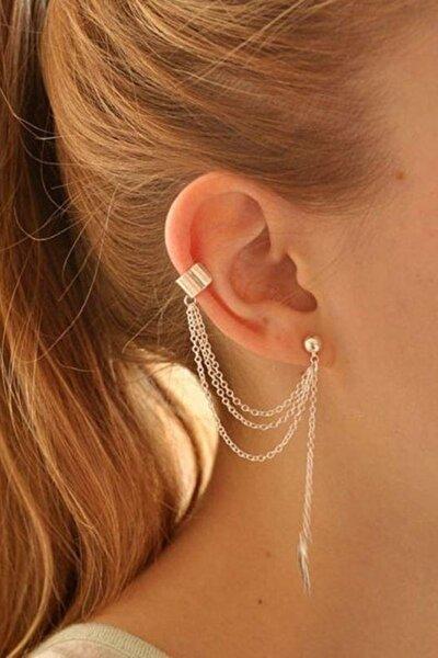 Kadın  Altın Sarısı Yaprak Püsküllü Ear Cuff Manşet Küpe