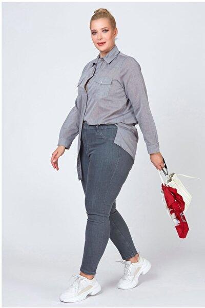Kadın Gri Büyük Beden Kot Pantolon