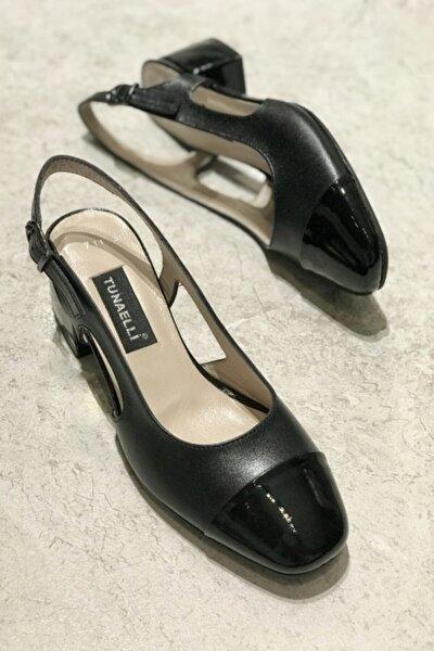 Kadın Siyah Hakiki Deri Topuklu Ayakkabı 35-41 Numara