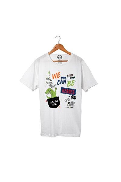 Unisex Beyaz Pamuklu Just For Fun T-shirt Pst3113