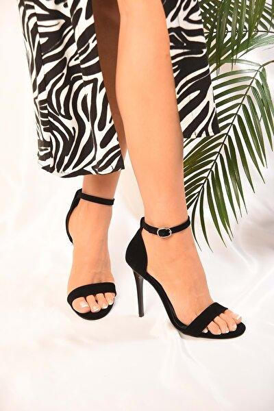 Tek Bantlı Kadın Siyah Süet Klasik Topuklu Ayakkabi