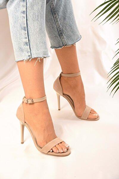 Tek Bantlı Kadın Ten Süet Klasik Topuklu Ayakkabi