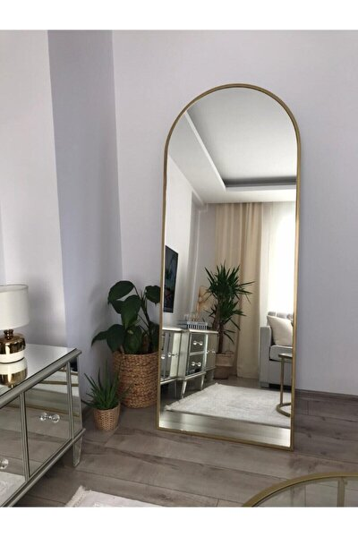 Gold Metal Çerçeveli Oval Ayaklı Boy Aynası 180 x 70 Cm