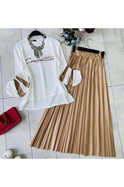 Kadın Piliseli Etek Bluz Takım