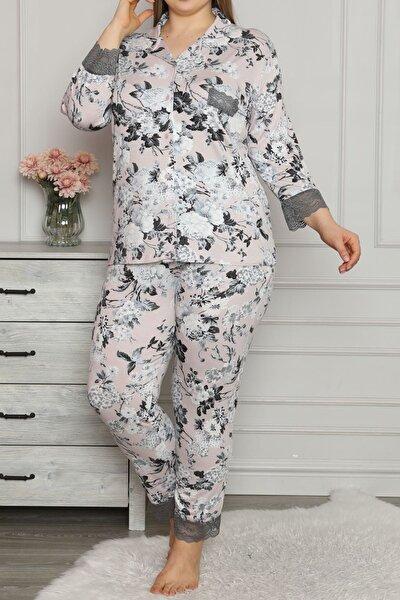 Ekru Kadın Pijama Takımı Uzun Kollu Düğmeli Büyük Beden