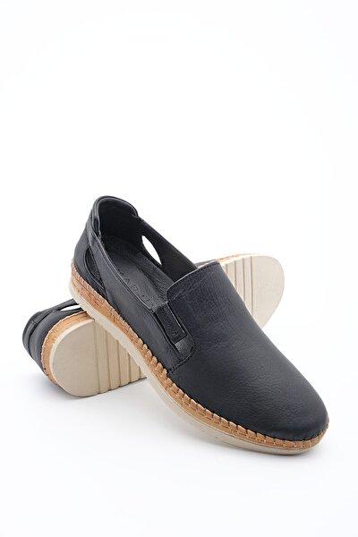 Kadın Hakiki Deri Comfort Ayakkabı Burvesiyah