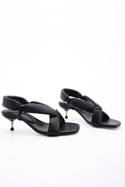 Kadın Parmak Arası Topuklu Sandalet Eltazsiyah