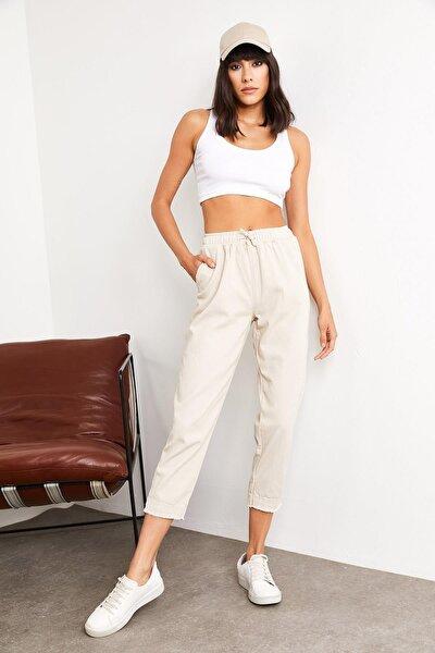Kadın Bej Beli Lastikli Keten Pantolon