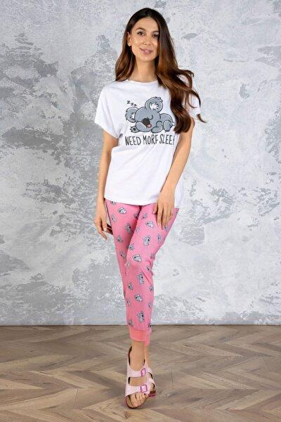 Kadın Beyaz Koala Desenli Pijama Takımı