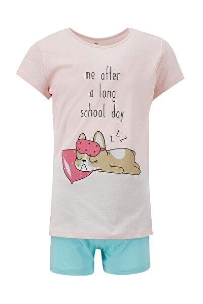 Kız Çocuk Turkuaz Kedi Baskılı Kısa Kol Pijama Takımı