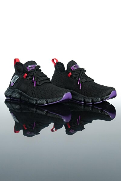 Erkek Siyah Mor Spor Ayakkabı Te7