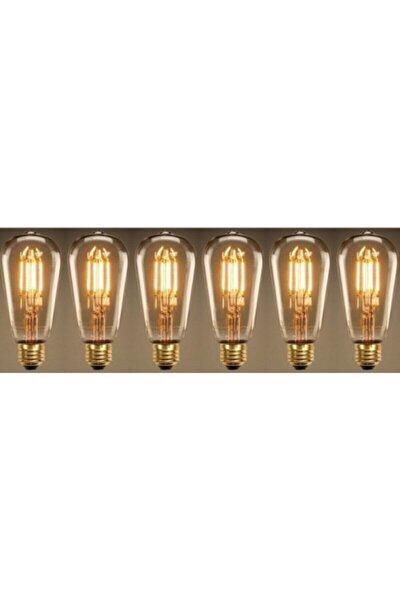 Rustik Led Ampul 6 Lı Eko Paket Amber E27 Duy Armut Tipi St64 Dekoratif Vıntage Aydınlatma