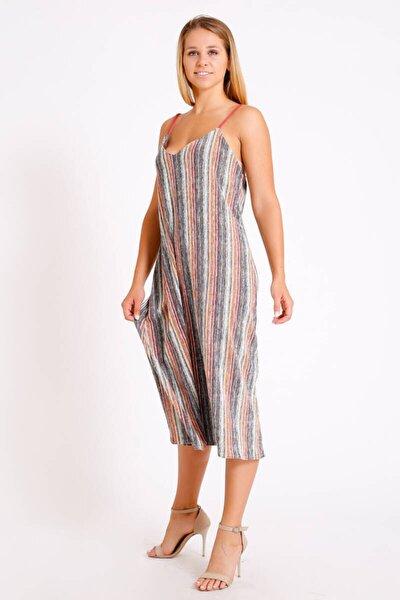 Ip Askılı V Yaka Uzun Elbise (Bs038)