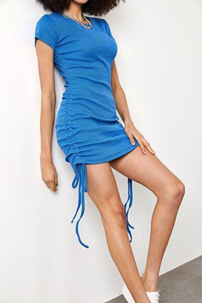 Kadın Mavi Yanları Büzgülü Kaşkorse Elbise 1YZK6-11717-12