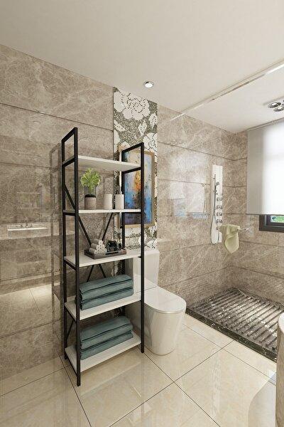 Beyaz Açelya Çok Amaçlı Banyo Rafı
