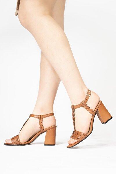 Kadın Kahverengi Topuklu Sandalet