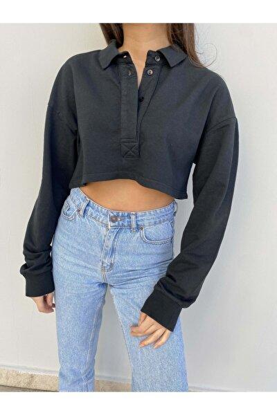 Kadın Siyah Crop Gömlek Yaka Üst