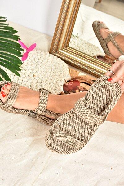Kadın Vizon Halat İpli Hasır Sandalet