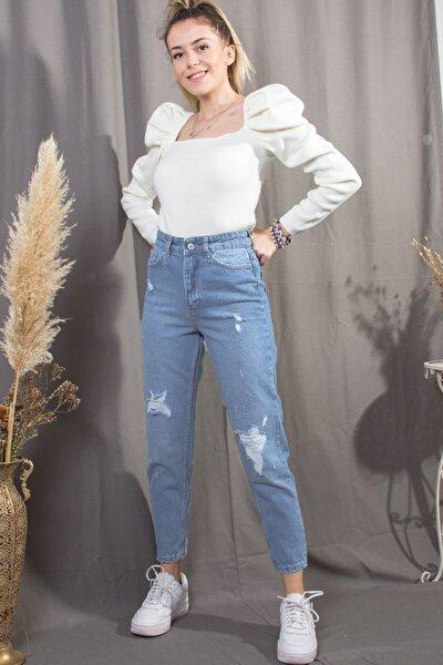 Kadın Mavi Lazerli Yırtık Dar Kalıp Denim Jeans Kot Pantolon
