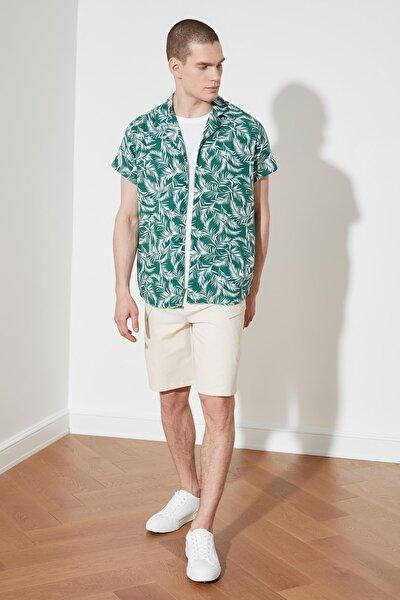 Yeşil Erkek Regular Fit Apaş Yaka Kısa Kol Tropik Gömlek TMNSS21GO1068