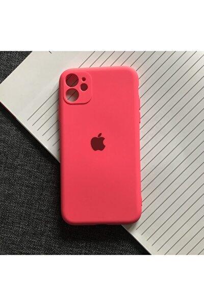 Iphone 11 Kamera Korumalı Logolu Lansman Içi Kadife Silikon Kılıf