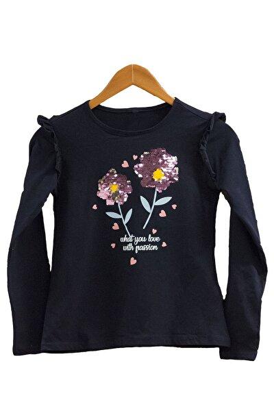 Kız Çocuk Lacivert Uzun Kol Nakışlı Tshirt