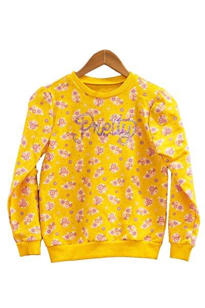 Kız Çocuk Sarı Çiçek Baskılı Uzun Kol Sweat
