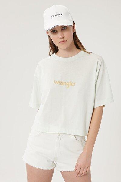 Kadın Açık Yeşil Kısa Kollu %100 Pamuk Logolu Sıfır Yaka Tişört