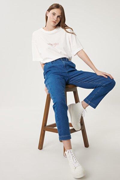 Kadın Mavi Mom Denim Esnek Jean Kot Pantolon