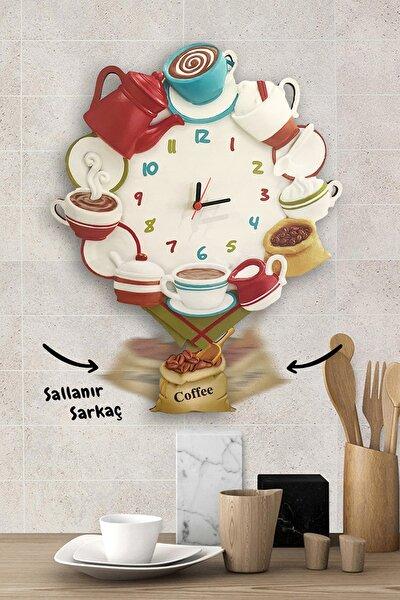 Renkli Kahve Şöleni Sallanır Sarkaçlı Mutfak Duvar Saati
