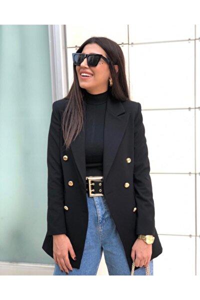 Büyük Beden Uzun Gold Düğmeli Siyah Blazer Ceket