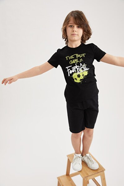 Erkek Çocuk Siyah Baskılı Kısa Kol Tişört ve Şort Takımı
