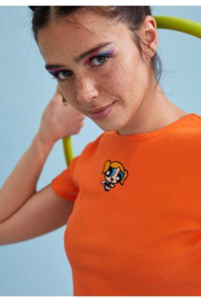 Kadın Turuncu Powerpuff Girls Lisanslı Bisiklet Yaka Crop Tişört