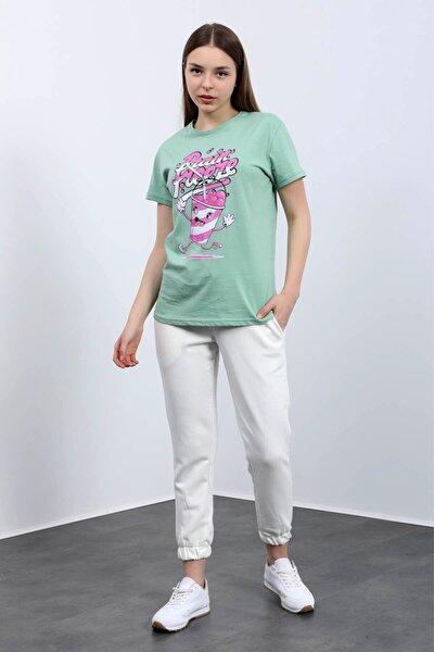 Brain Freeze Baskılı Soft Moss T-shirt