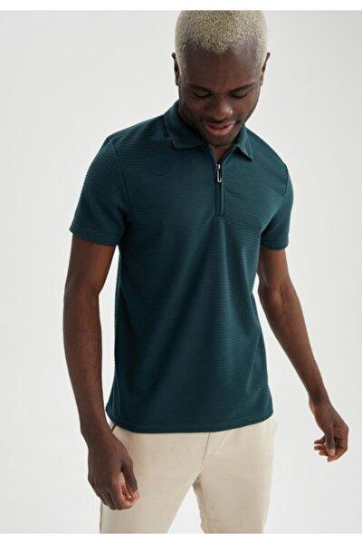 Slim Fit Fermuarlı Polo Yaka Kısa Kollu Tişört