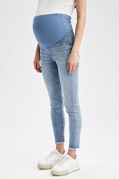 Skinny Fit Yırtık Detaylı Jean Hamile Pantolonu