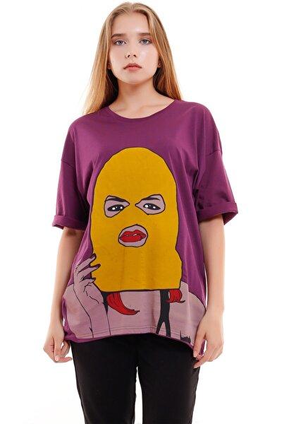Kadın  Gansta V2 Baskılı Mor T-shirt