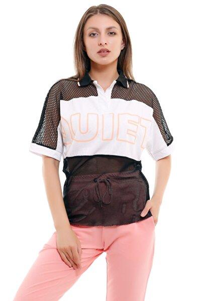 Kadın Baskılı  Fileli T-shirt
