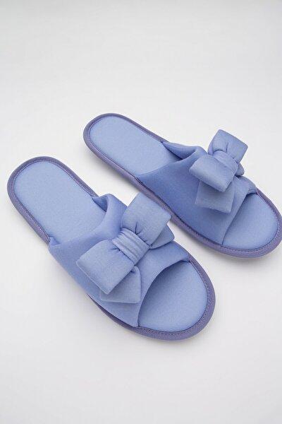 Kadın Mavi Soft Bow Terlik